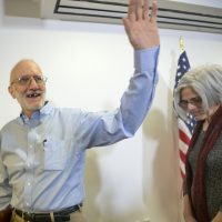 Alan Gross, waves as he and his wife Judy leave following his statement at his lawyer's office in Washington, Wednesday, Dec. 17, 2014. Gross was released from Cuba after 5 years in a Cuban prison. (AP)