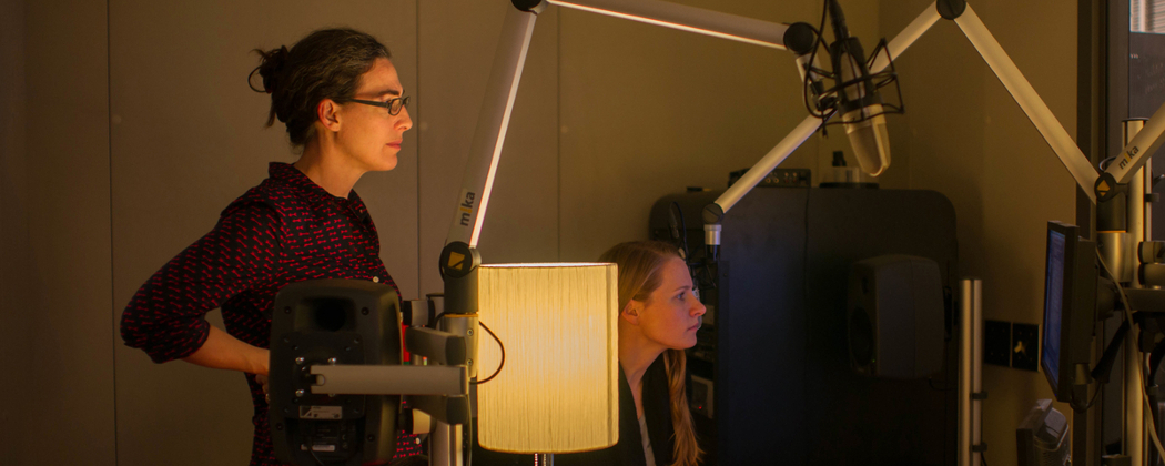 Sarah Koenig and Dana Chivvis in the recording studio. (Elise Bergerson)