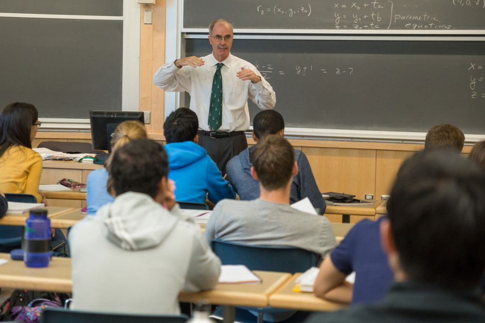 College president Philip Hanlon teaches a class at Dartmouth. (Courtesy of Eli Burakian via Dartmouth)