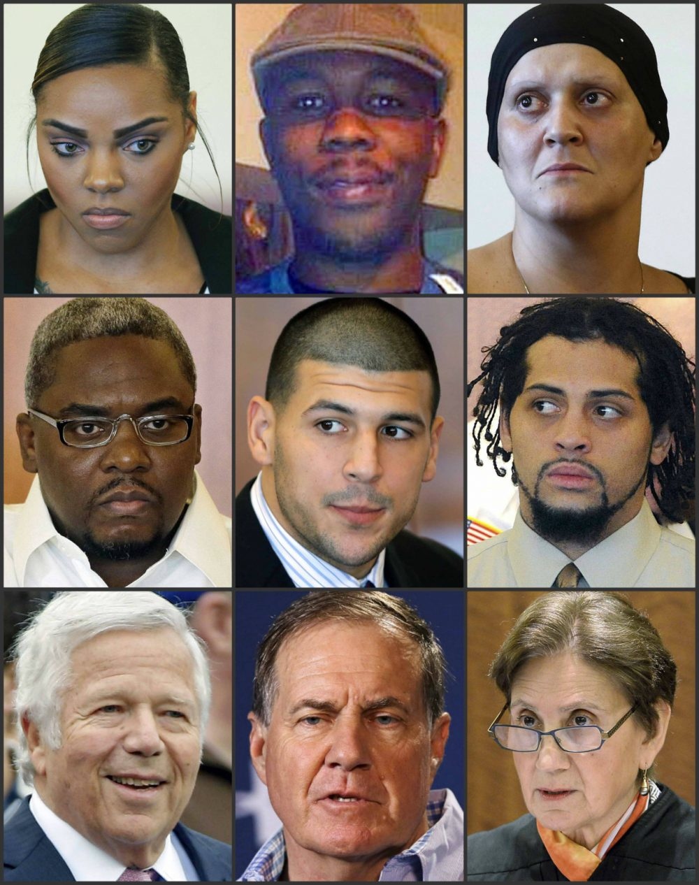 Key players in the Aaron Hernandez murder trial. (AP/WBUR file photo)