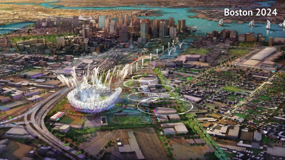 A rendering of the proposed Olympic Stadium from Boston 2024's original bid proposal to the US Olympic Committee. The group overseeing Boston's Olympic bid has released the complete version of its original bid documents to the public. Previously the group had released a redacted version of the bid. (Boston 2024)