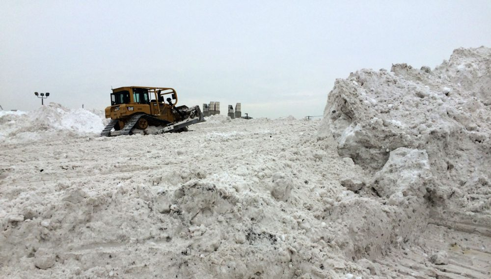 Plows move mountains of snow at Boston's biggest snow pile. (Rebecca Sananes for WBUR)