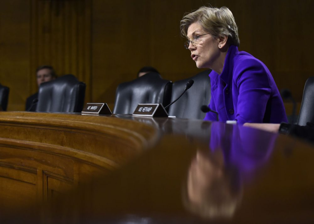 Sen. Elizabeth Warren questions Federal Reserve Board Chair Janet Yellen during a Senate Banking Committee hearing Tuesday. (Susan Walsh/AP)