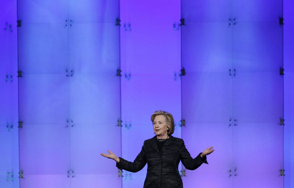Hillary Clinton speaks at the Watermark Silicon Valley Conference for Women Tuesday in Santa Clara, California. (Marcio Jose Sanchez/AP)