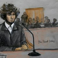 Author Erin Dionne writes about the process of being summoned, the months-long interruption to her life and what it was like to be in the presence of the admitted Boston Marathon bomber. In this courtroom sketch, Dzhokhar Tsarnaev is depicted sitting in federal court in Boston Thursday, Dec. 18, 2014. Tsarnaev is charged with the April 2013 attack that killed three people and injured more than 260. He could face the death penalty if convicted. (Jane Flavell Collins/AP)