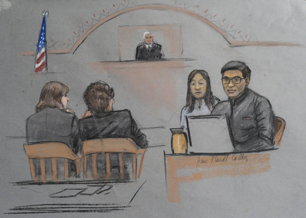 In this courtroom sketch, Dun Meng, far right, testifies with a translator at his side about the night was allegedly carjacked by the Tsarnaev brothers.