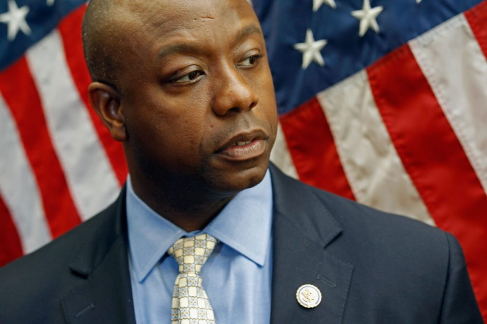 Rep. Tim Scott (R-SC) makes brief remarks with fellow GOP freshmen after a meeting with Treasury Secretary Timothy Geithner at the U.S. Capitol June 2, 2011 in Washington, DC. Geithner met with House freshmen from both parties to talk about the debit ceiling. (Chip Somodevilla/Getty Images)