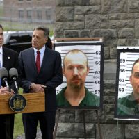New York Governor Andrew Cuomo, left, speaks while Vermont Governor Peter Shumlin listens during a news conference in front of the Clinton Correctional Facility in Dannemora, N.Y., Wednesday, June 10, 2015.  (AP)