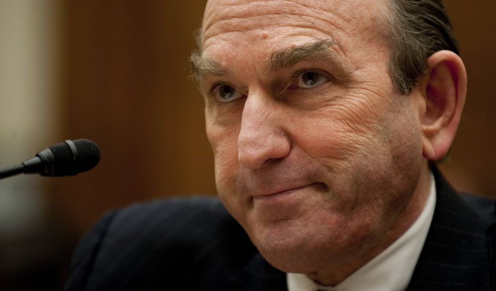 Senior Fellow for Middle Eastern studies at the council on Foreign Relations Elliott Abrams testifies before the House Foreign Affairs Committee on Capitol Hill in Washington, D.C., February 9, 2011 on the recent developments in Egypt and Lebanon. (Jim Watson/AFP/Getty Images)