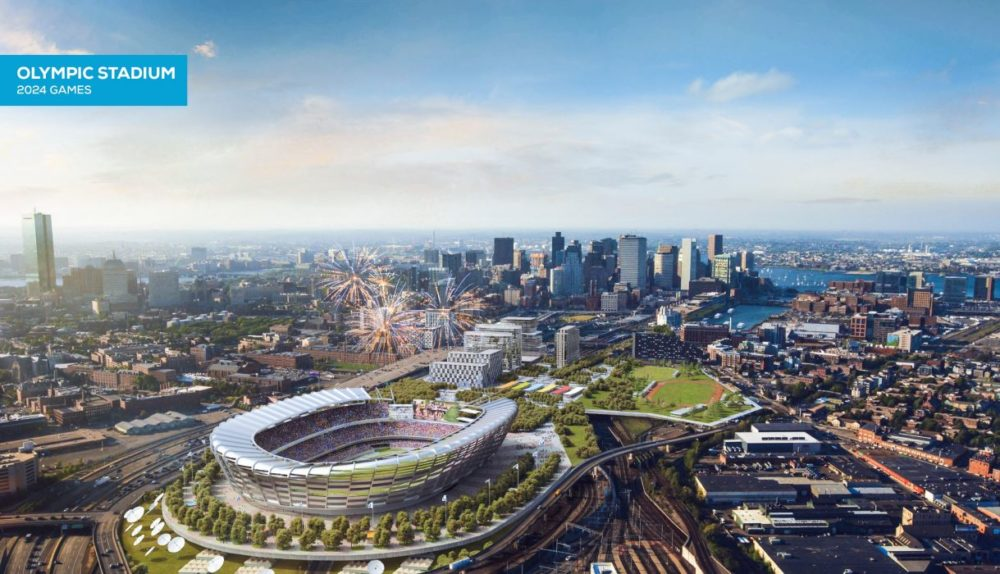 Organizers for the city's Olympic bid have now released documents on at least eight types of insurance it promises to purchase if it were to host the 2024 summer games. A rendering of the proposed Olympic Stadium, during the games (Boston 2024)