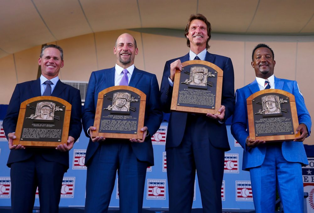 2015 Inductees Craig Biggio,John Smoltz,Randy Johnson and Pedro Martinez pose with their plaques after the Induction Ceremony at National Baseball Hall of Fame on July 26, 2015 in Cooperstown, New York. (Elsa/Getty Images)