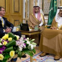 U.S. Defense Secretary Ash Carter meets with Saudi Arabian King Salman bin Abdul Aziz at Al-Salam Palace in Jiddah, Saudi Arabia on July 22. Carter came to consult with Saudi leaders, who are also unsettled by an Iran accord they see as likely to increase Iranian power and influence in the Persian Gulf and beyond. (Carolyn Kaster/AP)