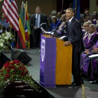 President Barack Obama speaks during services honoring the life of Rev. Clementa Pinckney, Friday, June 26, 2015, in Charleston, S.C., at the College of Charleston TD Arena. Pinckney was one of the nine people killed in the shooting at Emanuel AME Church last week in Charleston.  (AP)