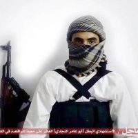 "This file image taken from a militant website associated with Islamic State extremists, posted Saturday, May 23, 2015, purports to show a suicide bomber, with the Arabic bar below reading: ""Urgent: The heroic martyr Abu Amer al-Najdi, the attacker of the (Shiite) temple in Qatif"", which the Islamic State group's radio station claimed responsibility for.  (AP)"