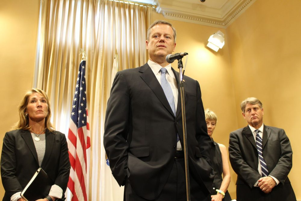 Gov. Charlie Baker speaks during a press conference Monday on the death of a 2-year-old foster child. He's joined by, from left to right, Lt. Gov. Karyn Polito, Health and Human Services Secretary Marylou Sudders, and Secretary of Public Safety and Security Daniel Bennett. (State House News Service)