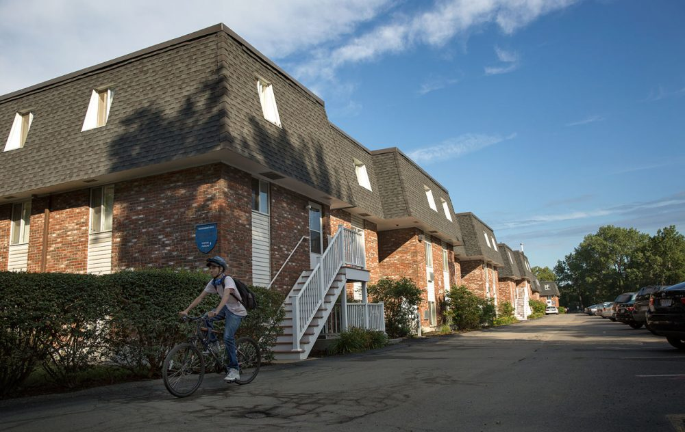 The Briston Arms housing complex in North Cambridge was at risk of losing affordable housing, but it was purchased by the Preservation of Affordable Housing. (Robin Lubbock/WBUR)