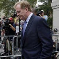 "A federal judge deflated ""DeflateGate"" on Thursday, erasing New England quarterback Tom Brady's four-game suspension for a controversy that the NFL claimed threatened football's integrity. U.S. District Judge Richard M. Berman said NFL Commissioner Roger Goodell, pictured here on Aug. 31, went too far in affirming punishment of the Super Bowl winning quarterback. Still, Bill Littlefield wonders if Goodell wasn't using DeflateGate to serve his purposes all along. (Richard Drew/ AP)"