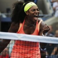 Serena Williams reacts after winning a point against Kiki Bertens, of the Netherlands, during the second round of the U.S. Open tennis tournament, Wednesday, Sept. 2, 2015. (Charles Krupa/AP)