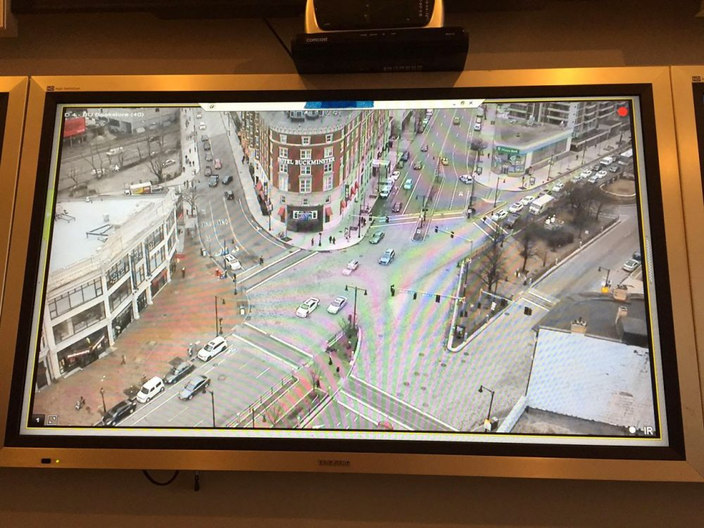 Boston is planning to use data analysis from different civic sectors to give the city an overall score. This is the view from a surveillance camera installed in Kenmore Square (Curt Nickisch/WBUR)