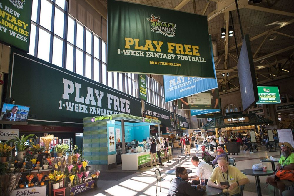 DraftKings advertisements in Boston's South Station are seen in September. (Jesse Costa/WBUR)