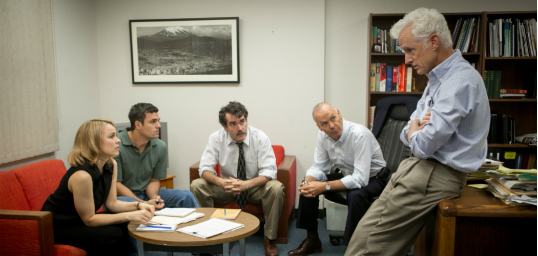 "From left: Rachel McAdams, Mark Ruffalo, Brian d'Arcy, Michael Keaton and John Slattery in ""Spotlight."" (Kerry Hayes/Open Road Films)"