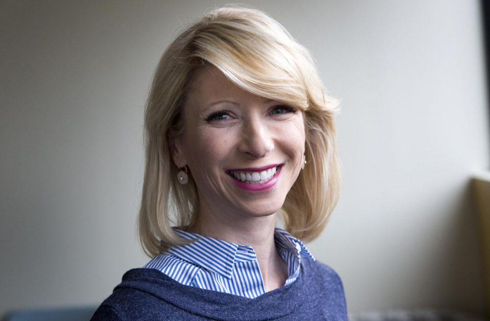 Amy Cuddy at the studios of Here & Now in Boston. (Robin Lubbock/WBUR)