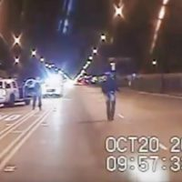 "The authors: ""It is almost unavoidable to watch a video of a white police officer shooting a black youth but through the lens of our own experiences and backgrounds."" Pictured: In this Oct. 20, 2014 frame from dash-cam video provided by the Chicago Police Department, Laquan McDonald, right, walks down the street moments before being shot 16 times by officer Jason Van Dyke in Chicago. (Chicago Police Department via AP)"
