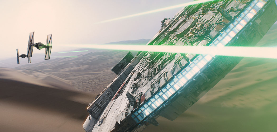 "The Millennium Falcon gets into one of the astonishing dogfights in ""Star Wars: The Force Awakens."" (Courtesy of Walt Disney Studios)"