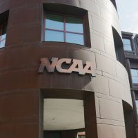 The entrance to the NCAA's headquarters is seen on July 23, 2012 in Indianapolis, Indiana. (Joe Robbins/Getty Images)