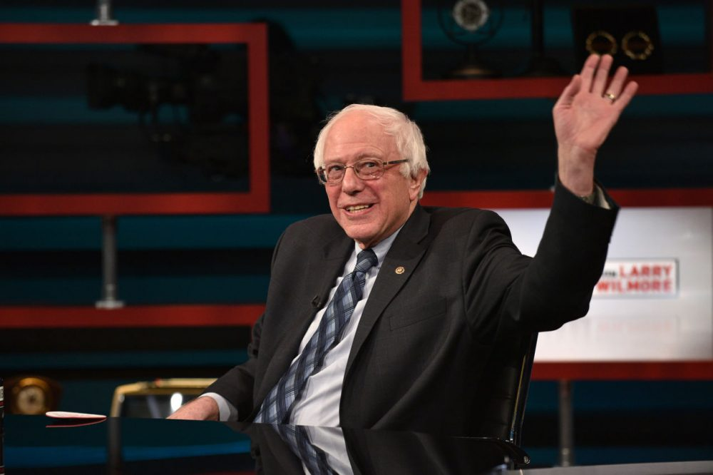 "Senator Bernie Sanders on Comedy Central's ""The Nightly Show With Larry Wilmore"" on January 5 in New York City.  (Bryan Bedder/Getty Images for Comedy Central)"