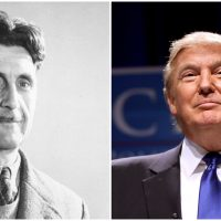 A closer look at the collected works of George Orwell helps explain the phenomenon of Donald Trump. (both photos AP)