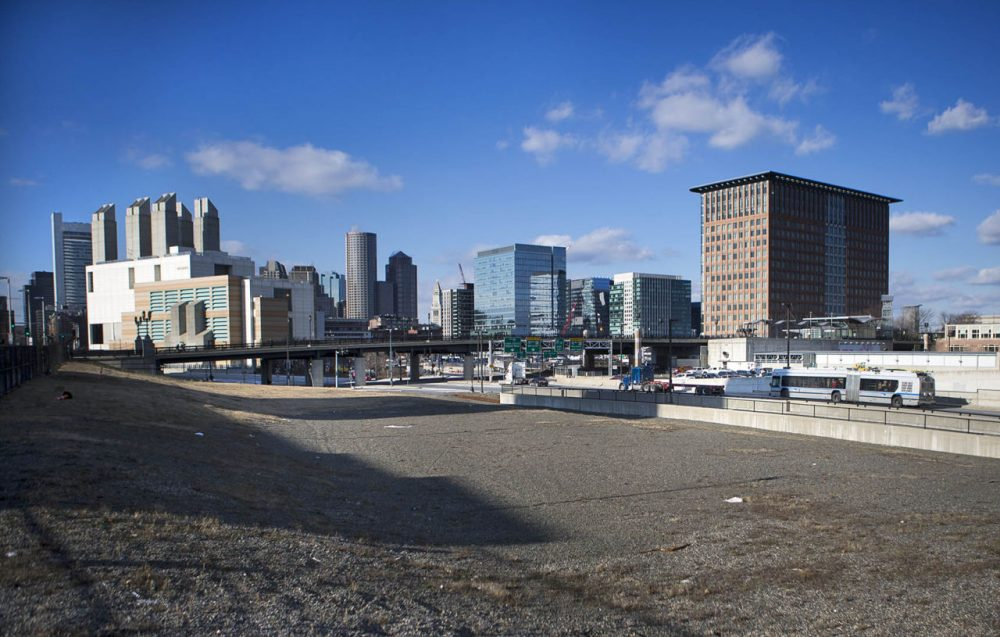 No specific site has been announced for GE's Boston headquarters, but the vacant lot across from the Boston Convention Center in the Seaport District of South Boston is a potential location. (Jesse Costa/WBUR)