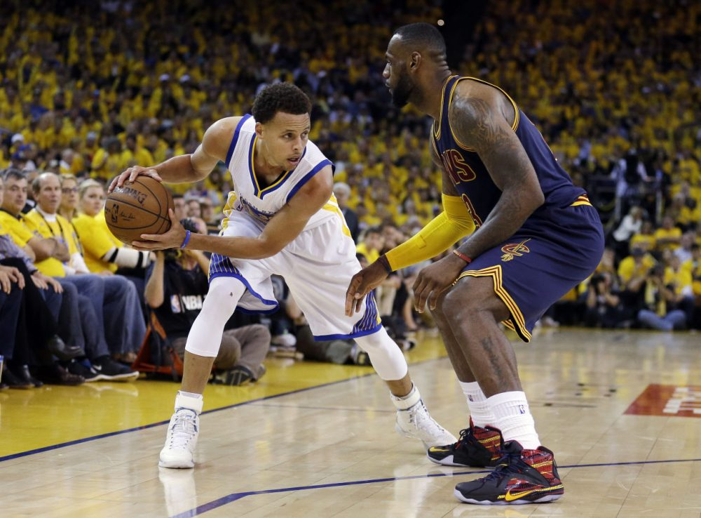 Last June, Stephen Curry (left) overtook LeBron James in jersey sales. But