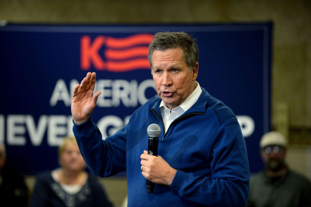 Republican presidential candidate Ohio Gov. John Kasich speaks during a campaign stop at Bektash Shriners January 20, 2016 in Concord, New Hampshire. A new poll has Kasich in second place behind longtime front runner Donald Trump, in the first-in-the-nation primary state. (Darren McCollester/Getty Images)