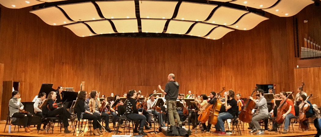 The community orchestra rehearsing at MIT. (Courtesy Christine Southworth)