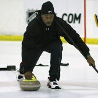 Broncos tight end Vernon Davis is most known for the plays he makes on the turf, but he also has a passion for the ice as an amateur curler.  (AP Photo/Marcio Jose Sanchez)