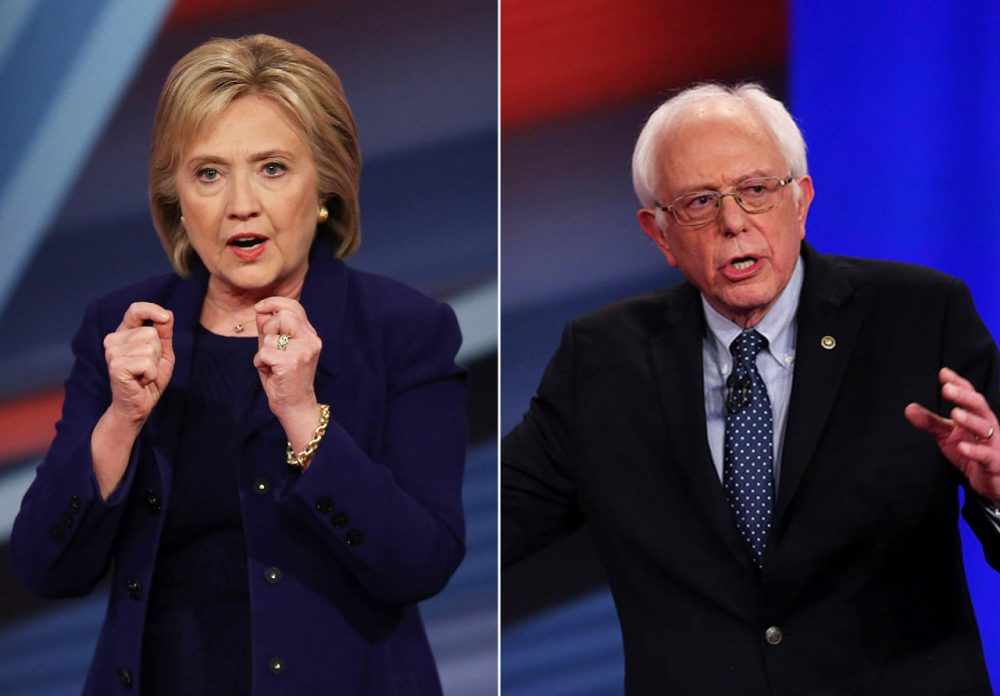 Democratic presidential candidates Hillary Clinton (left) and Bernie Sanders (right) take part in the Democratic Presidential Town Hall  hosted by CNN and the New Hampshire Democratic Party at the Derry Opera House on February 3, 2016 in Derry, New Hampshire. (Justin Sullivan, Joe Raedle /Getty Images)