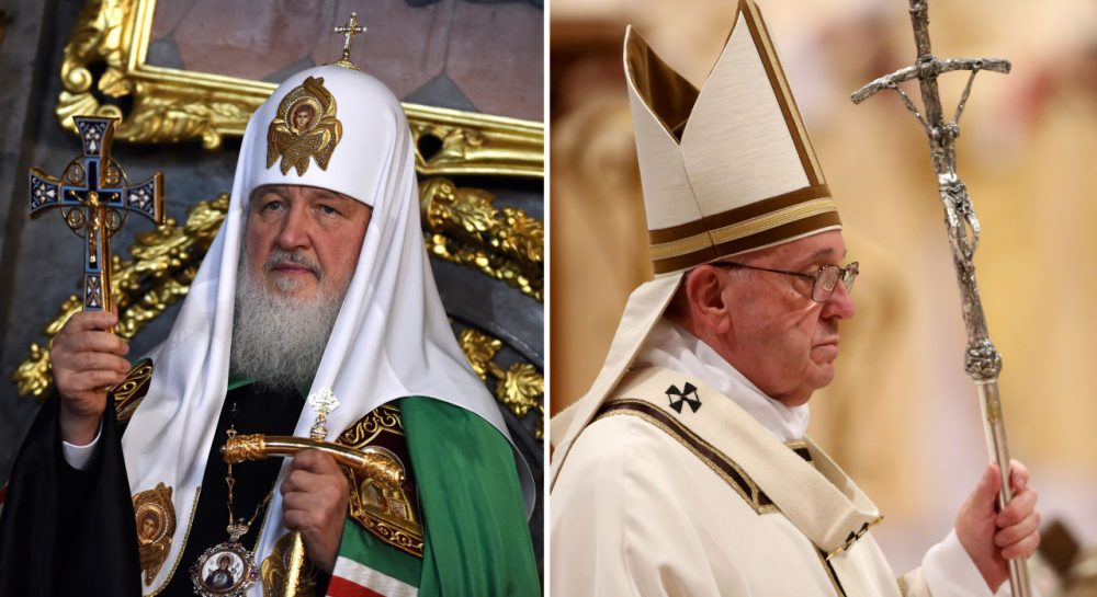 At left, the head of the Russian Orthodox Church, Patriarch Kirill is pictured on November 14, 2014 at Belgrade's cathedral. At right, Pope Francis arrives at St. Peter's Basilica for the Christmas Night Mass on December 24, 2015. (Andrej Isakovic, Franco Origlia/Getty Images)
