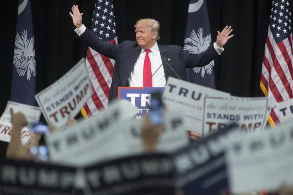 Republican presidential candidate Donald Trump speaks at a rally February 19, 2016 in Myrtle Beach, South Carolina. (Aaron P. Bernstein/Getty Images)