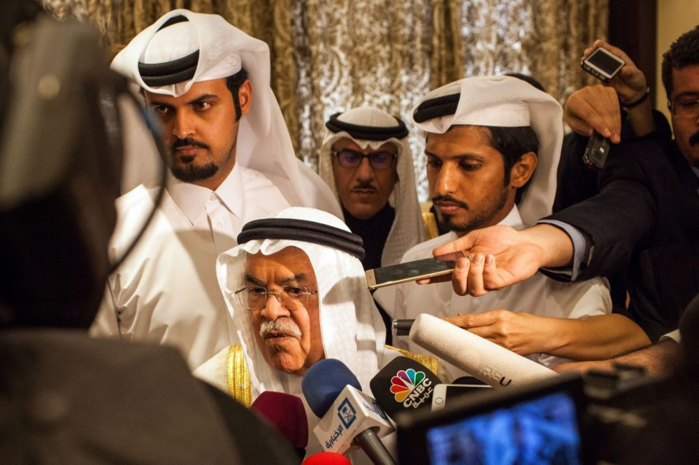Saudi Arabia's minister of Oil and Mineral Resources Ali al-Naimi (C) speaks to the press ahead of a meeting on February 16, 2016 in the Qatari capital Doha, with Qatar's, Venezuela's and Russia's ministers for energy and petrol. Energy giants Saudi Arabia and Russia agreed to freeze oil output to try to stabilise the market if other major producers do the same, Qatar's oil minister said. (OLYA MORVAN/AFP/Getty Images)