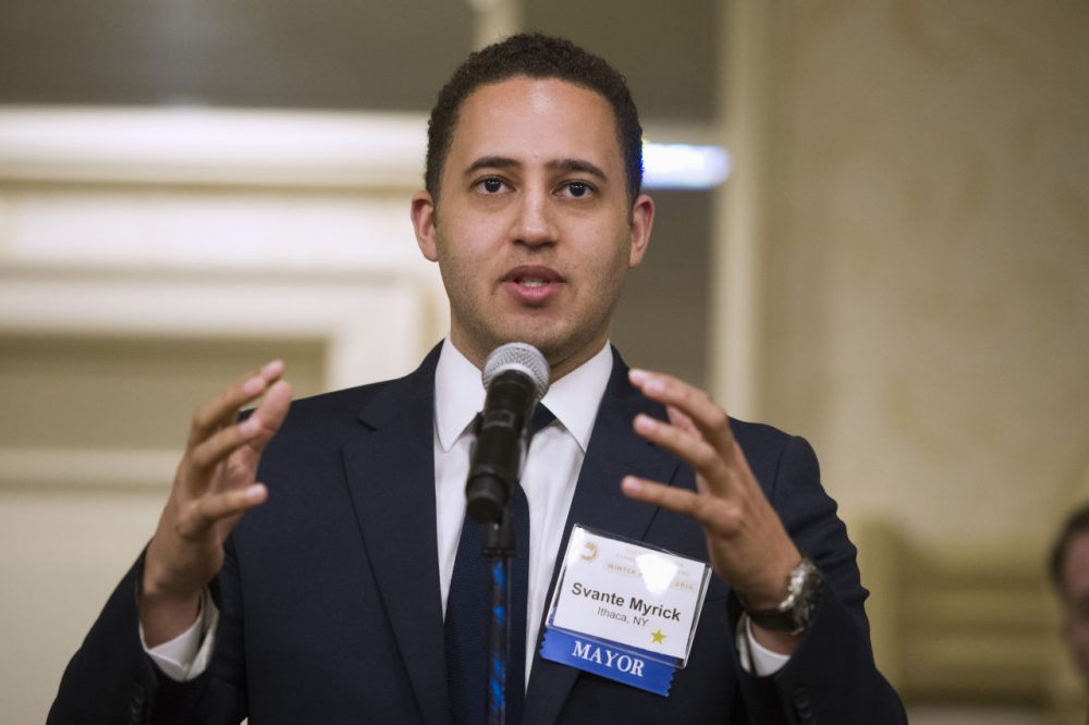 Ithaca, N.Y. Mayor Svante Myrick speaks during at the U.S. Conference of Mayors Winter Meeting in Washington, Jan. 21, 2016. Myrick wants his city to become the first in the U.S. to offer heroin users a safe, controlled place to shoot up. Supervised injection sites, in which a trained medical professional is on hand to deal with overdoses, are already in operation in Europe and Canada, but the idea never gained acceptance in America's law-and-order approach to the war on drugs.(Cliff Owen/AP)
