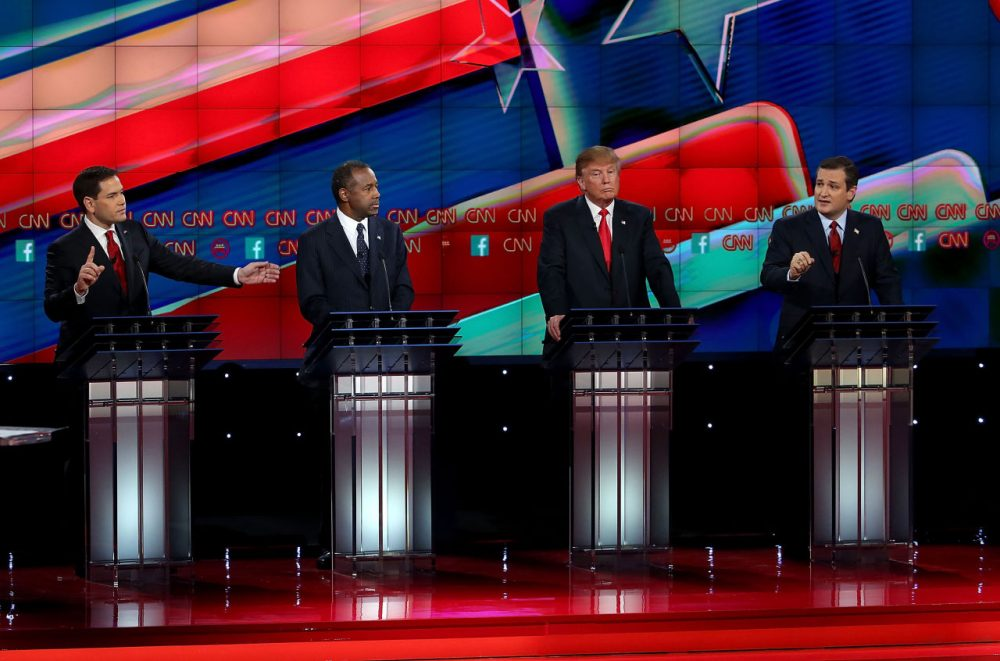 Republican presidential candidates (L-R) Sen. Marco Rubio (R-FL), Ben Carson, Donald Trump and Sen. Ted Cruz (R-TX), on stage during the CNN republican presidential debate at The Venetian Las Vegas on December 15, 2015 in Las Vegas, Nevada.  (Justin Sullivan/Getty Images)