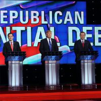 Republican presidential candidates Ben Carson,  Florida Sen. Marco Rubio (R-FL), Donald Trump, Texas Sen. Ted Cruz (R-TX) and Ohio Gov. John Kasich (L-R) stand on stage for the Republican National Committee Presidential Primary Debate at the University of Houston's Moores School of Music Opera House on February 25, 2016 in Houston, Texas. The candidates are meeting for the last  Republican debate before the Super Tuesday primaries on March 1. (Joe Raedle/Getty Images)
