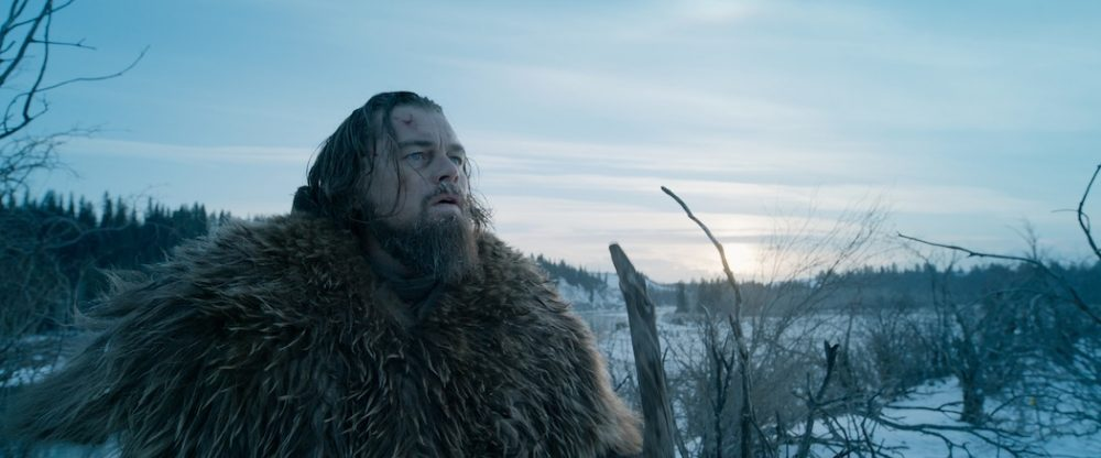 "Leonardo DiCaprio as Hugh Glass in ""The Revenant.""  Both DiCaprio and the film are nominees. (Courtesy Twentieth Century Fox via AP)"