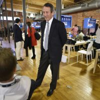 U.S. Rep. Mark Sanford, R-S.C., speaks to the media before the CBS News Republican presidential debate at the Peace Center, Saturday, Feb. 13, 2016, in Greenville, S.C. (AP Photo/Mike Stewart)