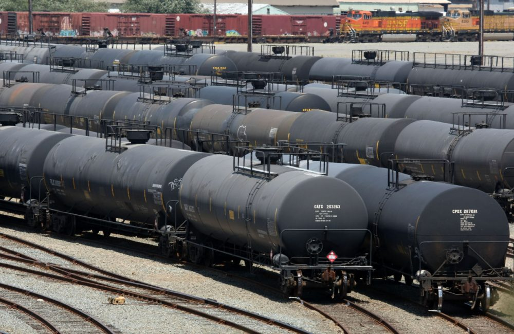 Railroad tanker cars sit outside of the Chevron refinery July 14, 2008 in Richmond, California. (Justin Sullivan/Getty Images)