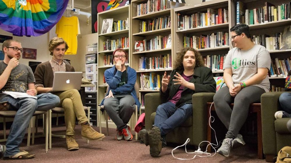 Shannon Peitzer (center right) and students at Kutztown University discuss a proposed local law that would stop landlords from discriminating against people because they're gay, lesbian, bisexual or transgender. (Lindsay Lazarski/WHYY)