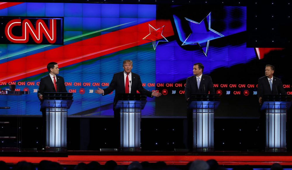 Republican Presidential candidates (L-R) Marco Rubio, Donald Trump, Ted Cruz and John Kasich participate in the CNN Presidential Debate March 10, 2016 in Miami. (Rhona Wise/AFP/Getty Images)