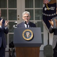 Federal appeals court judge Merrick Garland, receives applauds from President Barack Obama and Vice President Joe Biden as he is introduced as Obama's nominee for the Supreme Court during an announcement in the Rose Garden of the White House, in Washington, Wednesday, March 16, 2016. (AP Photo/Pablo Martinez Monsivais)