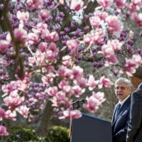 Federal appeals court judge Merrick Garland accompanied by President Barack Obama, speaks as he is introduced as Obama's nominee for the Supreme Court during an announcement in the Rose Garden of the White House, in Washington, Wednesday, March 16, 2016. (AP Photo/Andrew Harnik)